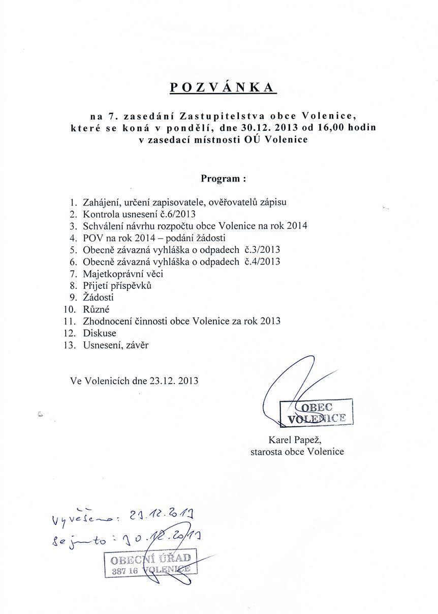 Pozvánka na zasedání Zastupitelstva obce Volenice 7/2013