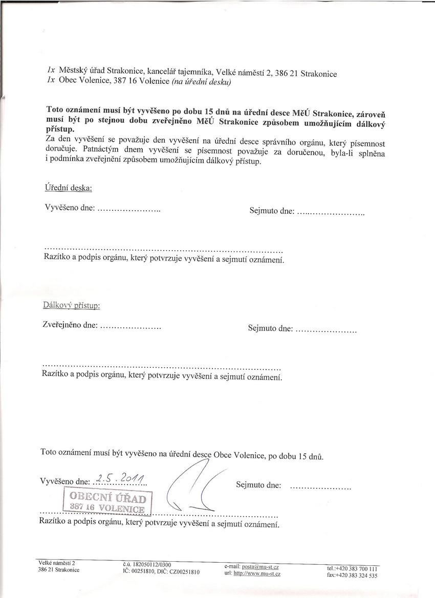 Mstský úYad Strakonice - Oznámení zahájení stavebního Yízení veYejnou vyhláakou