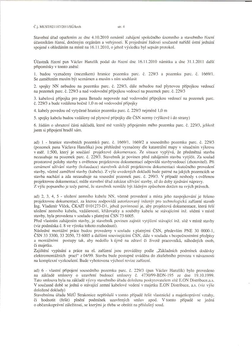 """Mstský úYad Strakonice - Rozhodnutí  """"Zemní kabel NN 0,4 kV"""""""