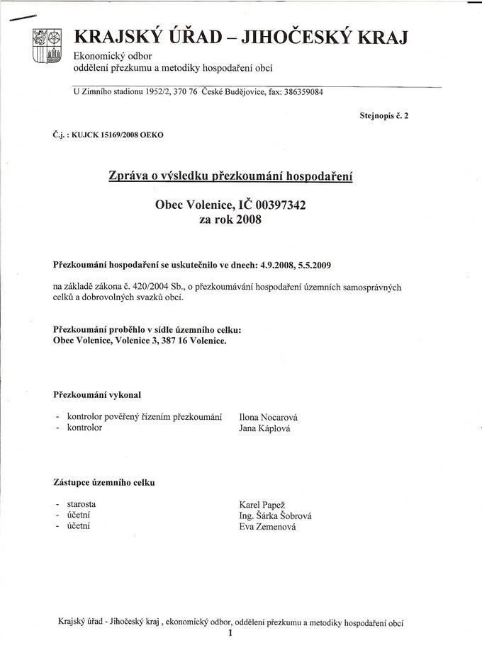 Zpráva o výsledku pYezkoumání hospodaYení (za rok 2008)