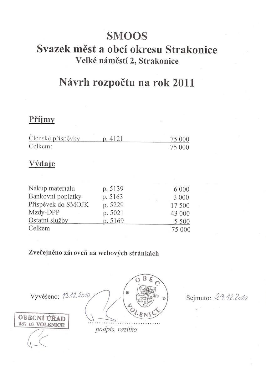 Pozvánka na zasedání zastupitelstva obce Volenice