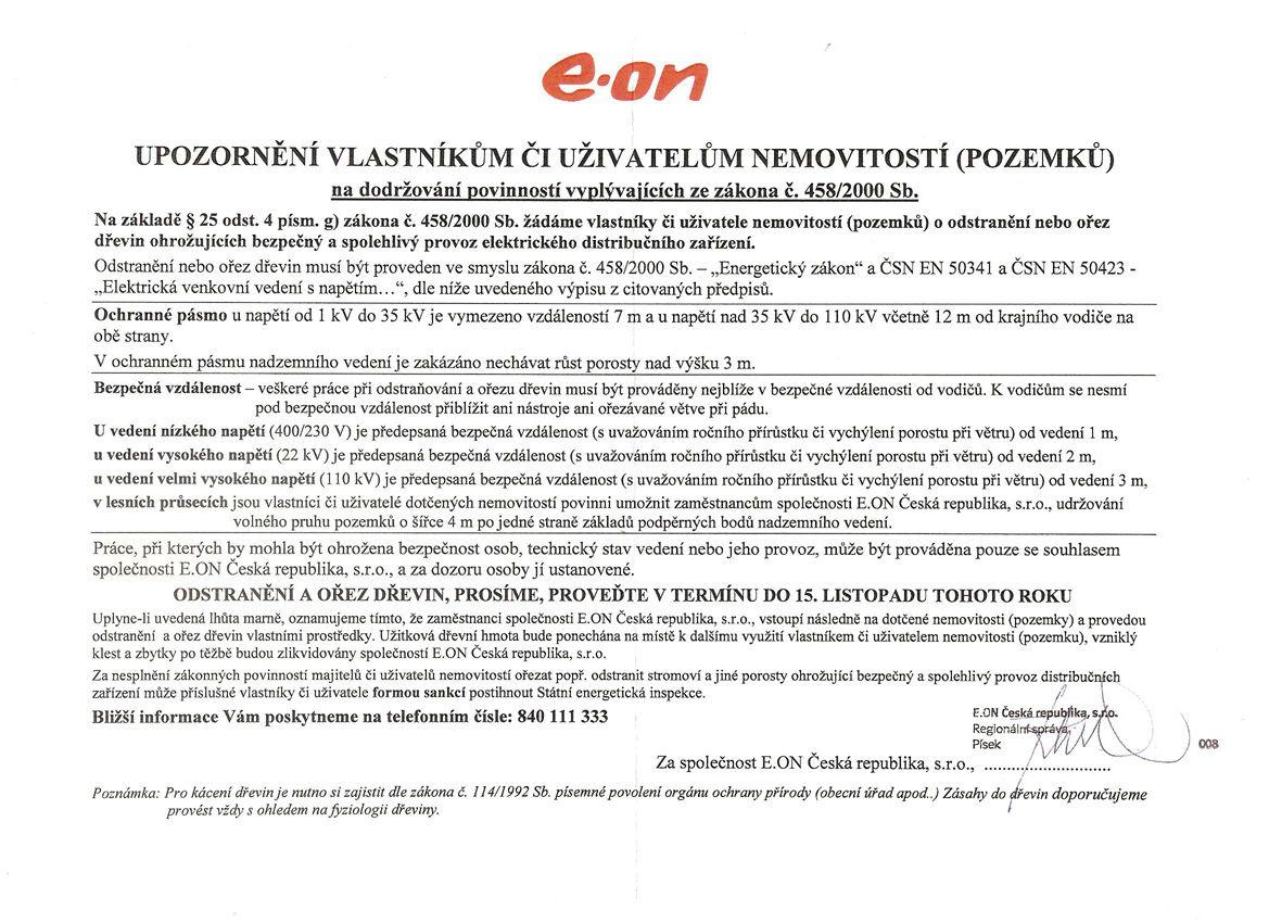 e-on - Upozornění vlastníkům či uživatelům nemovitostí