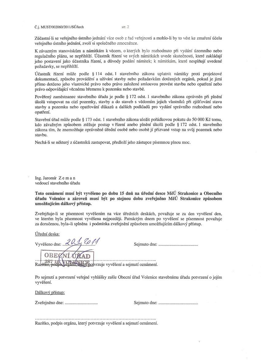 """Mstský úYad Strakonice - oznámení """"Stavební úpravy a nástavba skladu pesticido"""""""