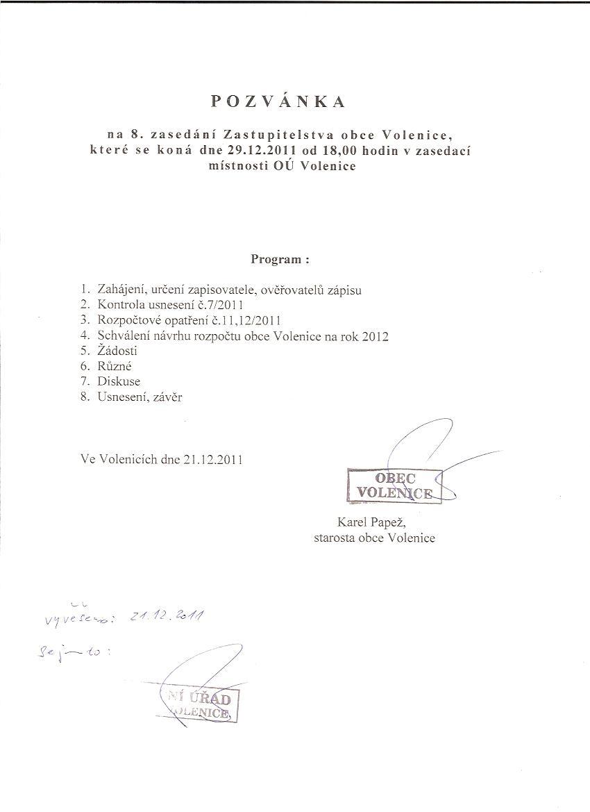 Pozvánka na 8. zasedání Zastupitelstva obce Volenice