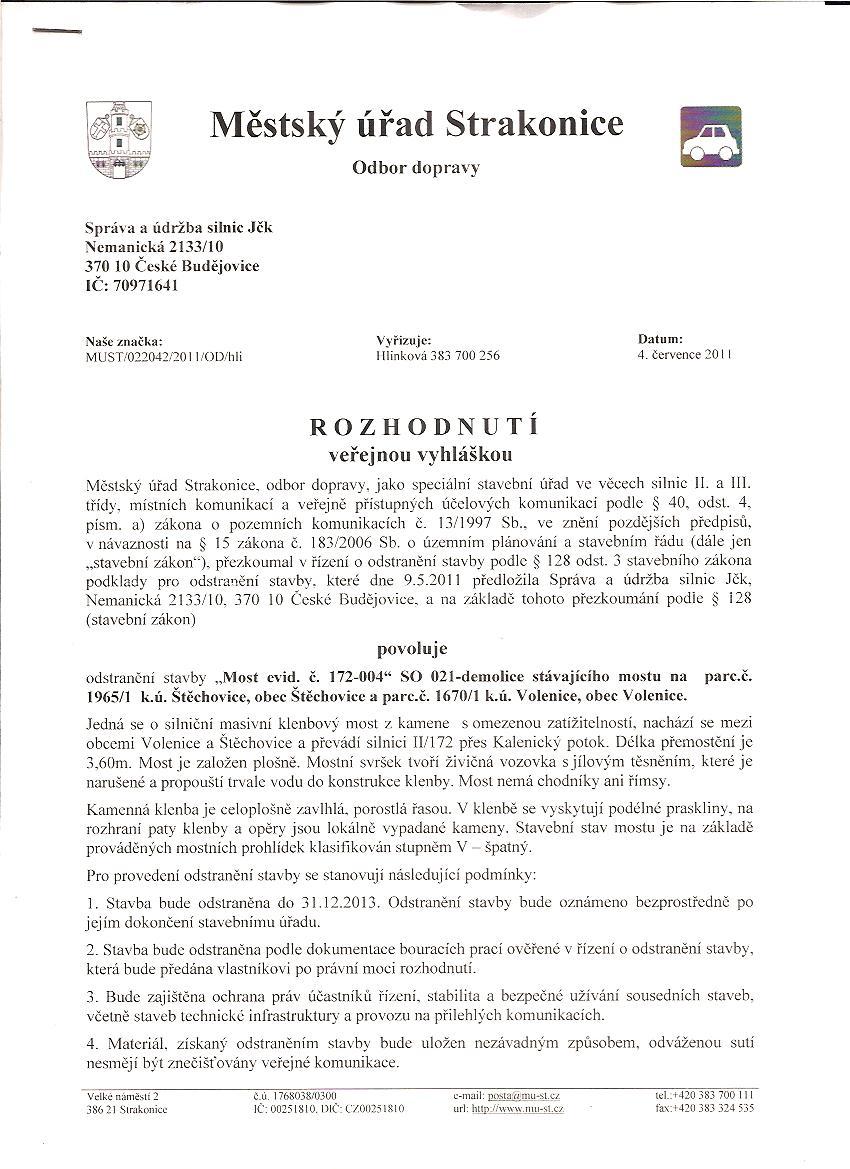 Mstský úYad Strakonice - Rozhodnutí (demolice mostu)