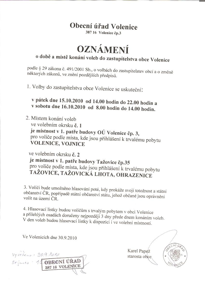 Doba a místo konání voleb do zastupitelstva obce Volenice