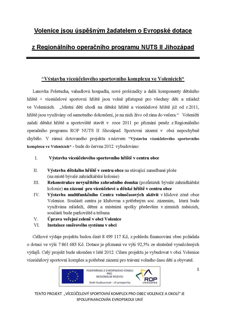 Pozvánka na I. zasedání Zastupitelstva obce Volenice