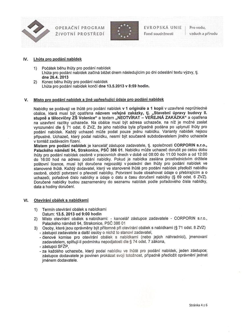 Výzva - Stavební úpravy budovy II. stupně a tělocvičny ZŠ Volenice